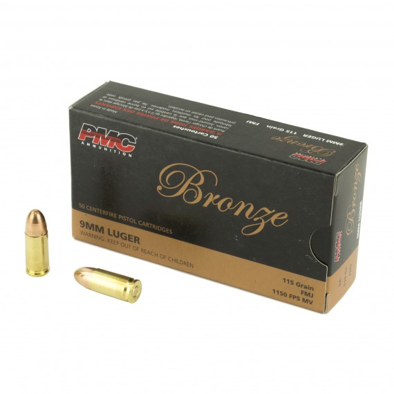 PMC Bronze 9mm Ammo 115 Gr FMJ 50 Rd Box