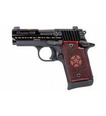 SIG P938 6 RD 9mm Texas Gold Pistol Redwood Grips